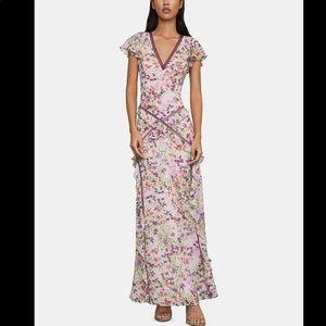 NWT BCBGMaxazria Floral Ruffle Gown